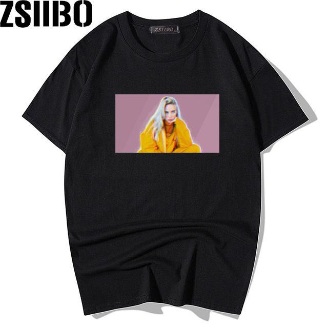 Billie Eilish 프린트 90 년대 T 셔츠 브랜드 T- 셔츠 블랙 브랜드 T- 셔츠 남성 여성 탑스 캐주얼 블랙 스트리트웨어 MC151