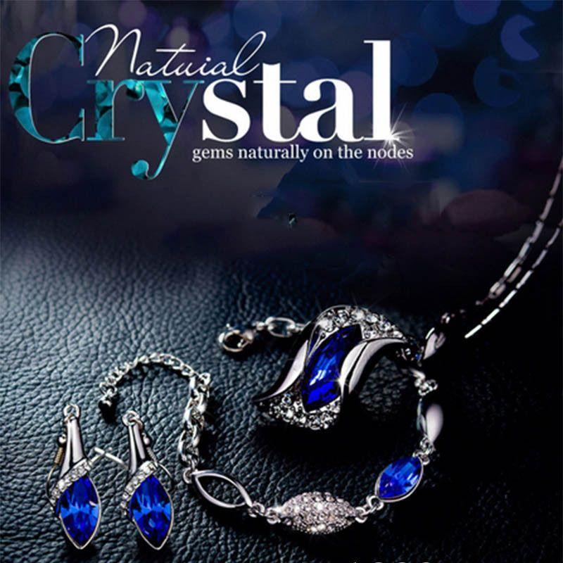 Las piedras preciosas cristalinas joyería fija Moda Waterdrop del collar pendiente de los pendientes de gota de la pulsera de la Mujer Niñas Dama Rosa Azul Verde Violeta
