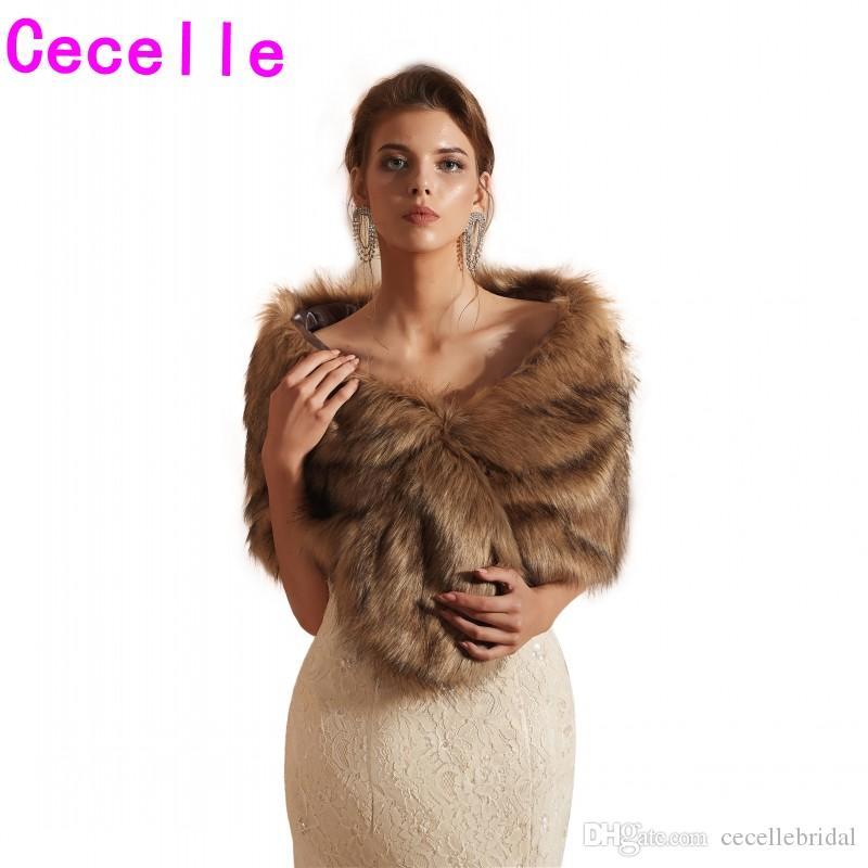 2019 Winter Brown Bridal Faux Fur Wraps For Wedding Women Warm Fur shawl For Speical Occasion Ladies Winter scarf