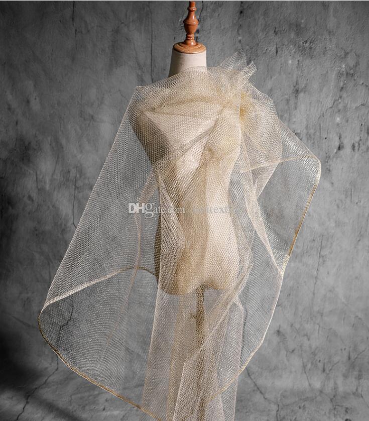 Black Metal Diamond Hard Yarn Imitating Wire Mesh fabric dress patch wedding diy home mannequin textiles tweed fabric telas por metro A530