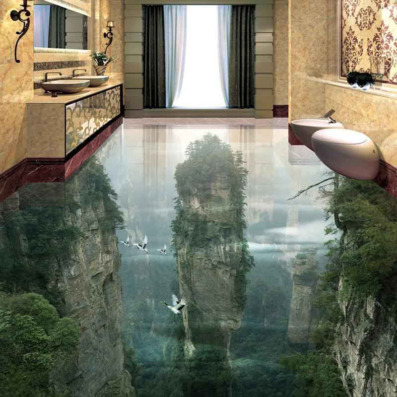 Papier peint de plancher de photo fait sur commande 3D falaises de montagne de sommets de salon salle de bains 3D carrelage mural papier peint auto-adhésif de PVC