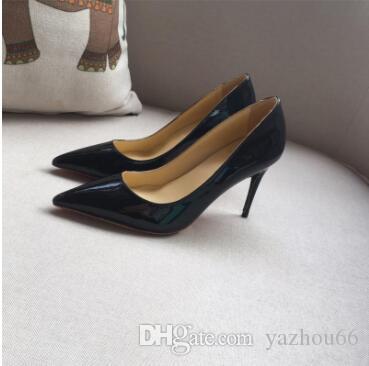 Cheapgood kalite Moda tasarımcısı kadın ayakkabı kırmızı alt yüksek topuklu 8 cm 10 cm 12 cm Çıplak siyah kırmızı pembe Deri Sivri Toes Elbise ayakkabı Pompaları ayakkabı