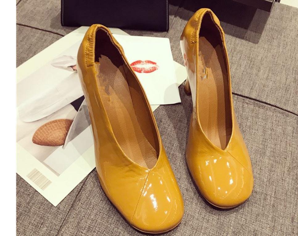 2020 весна и осень с новым стилем мода высокий каблук тонкий каблук квадратная голова Женская обувь @MQWBH744