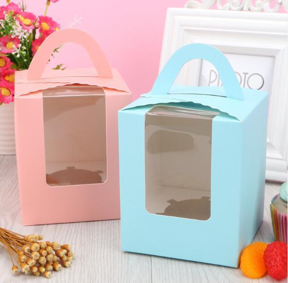 7 couleurs simples de petit gâteau boîtes avec fenêtre avec poignée boîte Macaron Mousse Cake Box Livraison gratuite