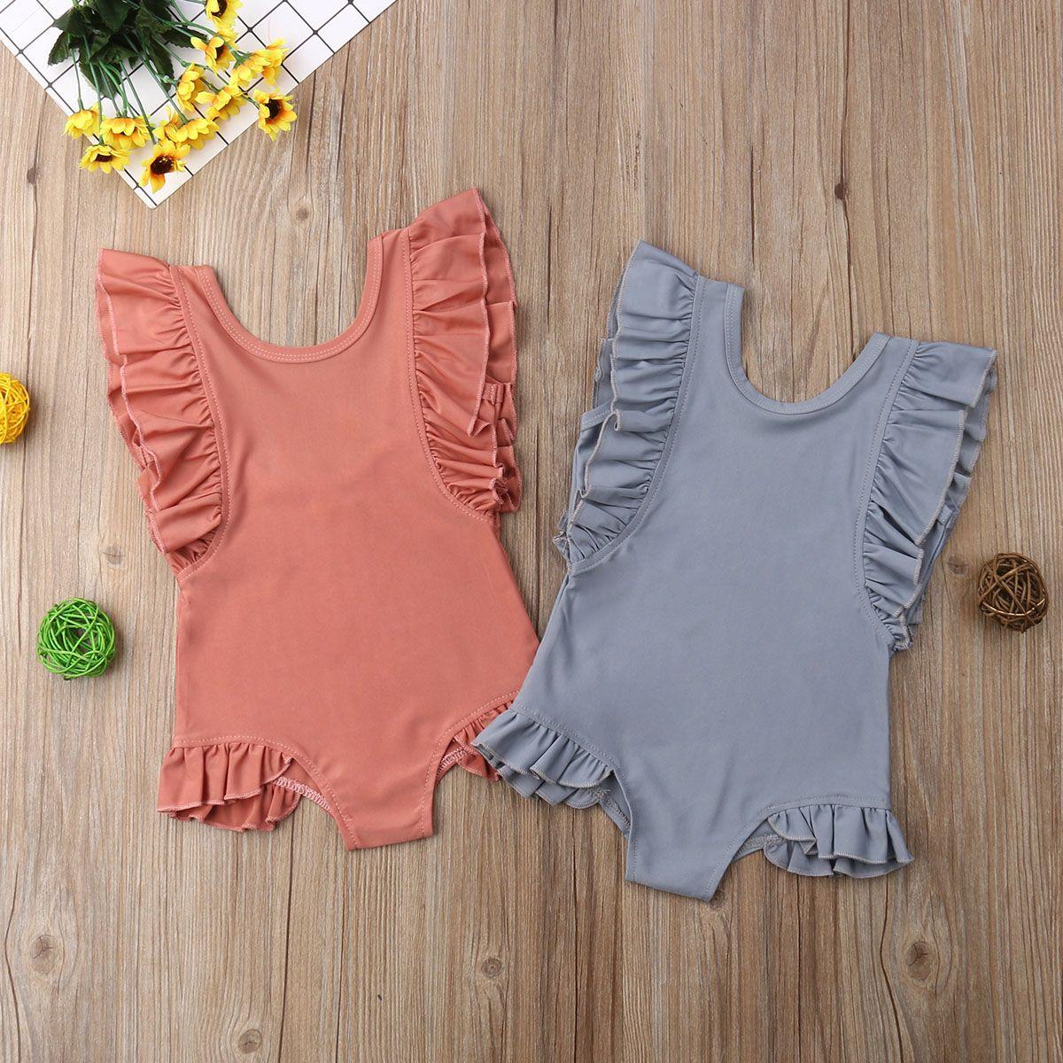 2020 New Toddler Kids Baby Girl Ruffles Sleeveless Swimwear Summer Solid One Piece Swimsuit Bathing Suit Beachwear for 1-6Years