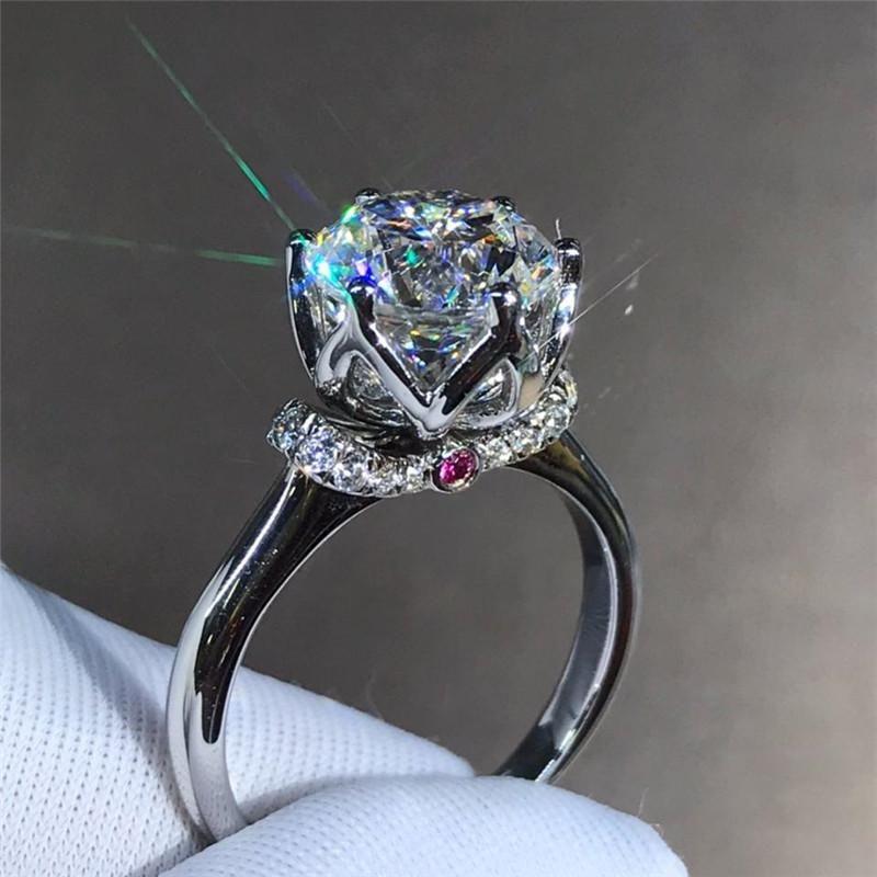 Pure 925 Sterling Silver Round Cut белый топаз CZ Алмазный Бриллиантовые женщины обручальное кольцо игристых Handmade Роскошные ювелирные изделия Обручальное