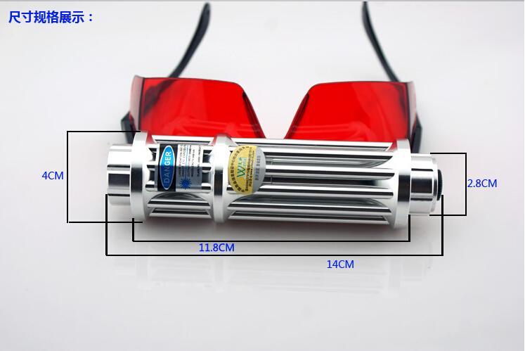 Самый мощный военный охота SOS LED лазерный фонарик 200000 м 450nm Высококачественные синие лазерные указки Свет + очки + чейнджер + подарочная коробка