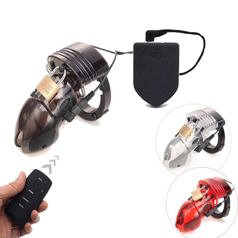 CB6000 جهاز العفة قفص الديك للإنسان ، التحكم عن الصدمة الكهربائية حلقة القضيب الجنس لعب ، الكهربائية خاتم الديك العفة حزام