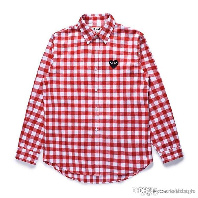 Melhor Qualidade Coração Emoji JOGAR C335 Branco Vermelho Das Mulheres Dos Homens Camisa Longa Blusa treliça CDG Com Manga Longa Des Garçon T-shirt