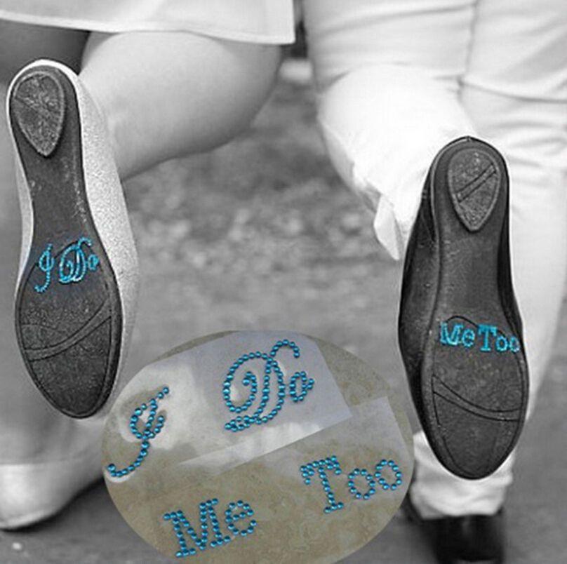 "Set of /""He/'s Mine/"" /""She/'s Mine/"" Rhinestone Wedding Stickers In Silver or Blue"