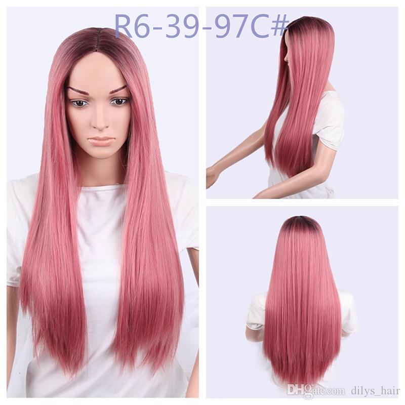 شعر مستعار اصطناعي طويل مستقيم منبت الشعر الطبيعي مقاوم للحرارة الألياف الاصطناعية الباروكات غلويليس 260G / قطعة 26 بوصة