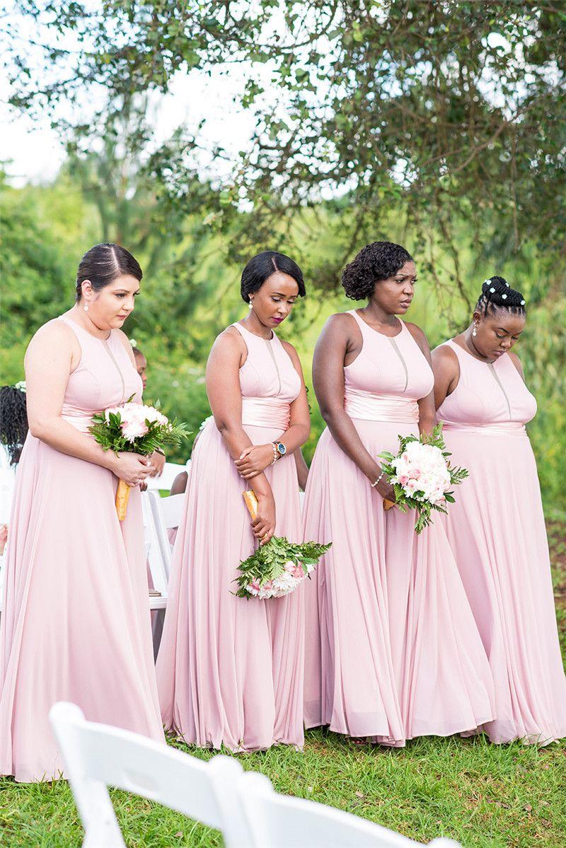 Abito da damigella d'onore a trapezio in chiffon rosa blush Abito da ospite per matrimonio africano a buon mercato Abito da damigella d'onore formale lungo partito