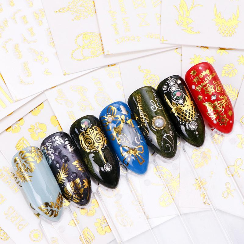Set da manicure in filigrana d'oro. Papillon a farfalla multi-pattern hot stamping nail sticker