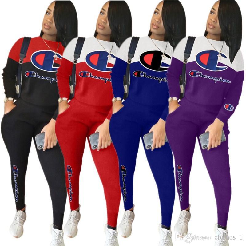 Женщины спортивной длинный рукав наряды 2 шт комплект костюм для бега трусцой Sportsuit толстовку леггинсы костюмы sweatshit пижамы спортивный костюм klw0136