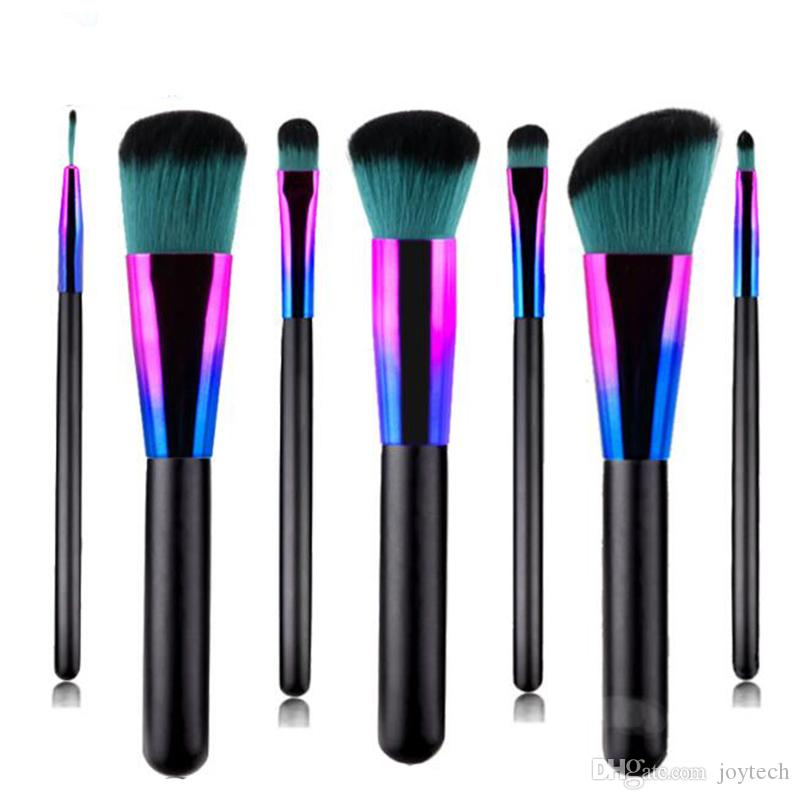LUXURY 7pcs кисти для макияжа Набор ресниц для губ Foundation Powder Eye Shadow Брови подводка Косметические Макияж кисти Красота инструмента DHL доставка