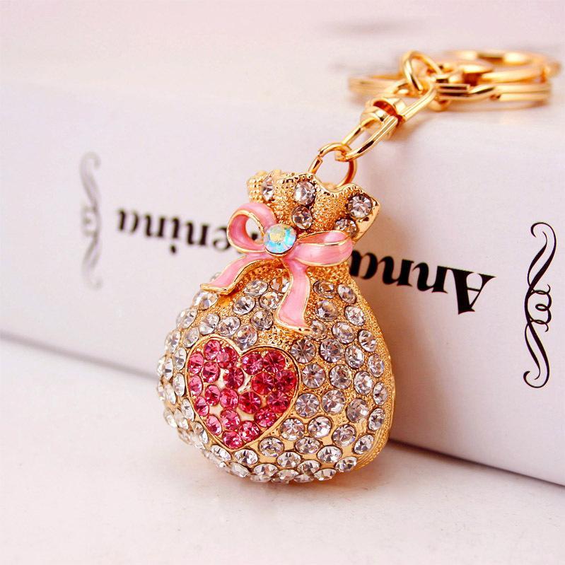 Alloy Lucky Bag Purse Diamond Key Chain Girl Bag Pendant Car Pendant Creative Small Gift 093