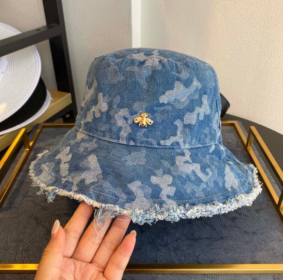 Nuevo de la manera del vaquero del sombrero del cubo diseñador Cap Little Bee Mujer Sombreros Del Cubo Marca capsula los sombreros Beanie Casquettes calidad superior