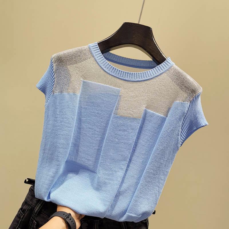 Coréen Patchwork Silk Silk Silk Sweater Femmes Col O-Cou Sleeve Sleeve Pull Sweaters Mince Sweaters 2020 Été Nouvelle Arrivée Tops