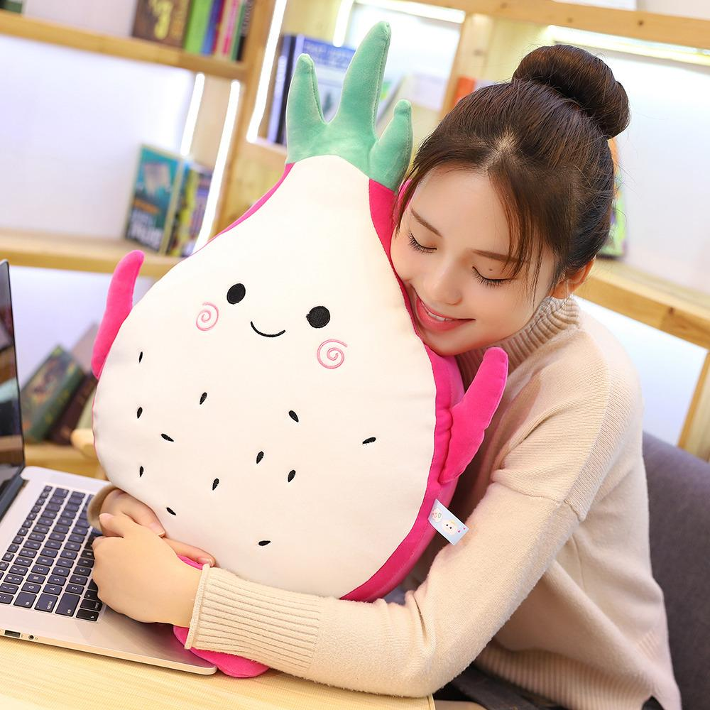 Dropshipping Dragon Fruit Plush Pillow Stuffed Toy Animal Food Pitaya Cushion Doll Plushie Toys for Baby Kids