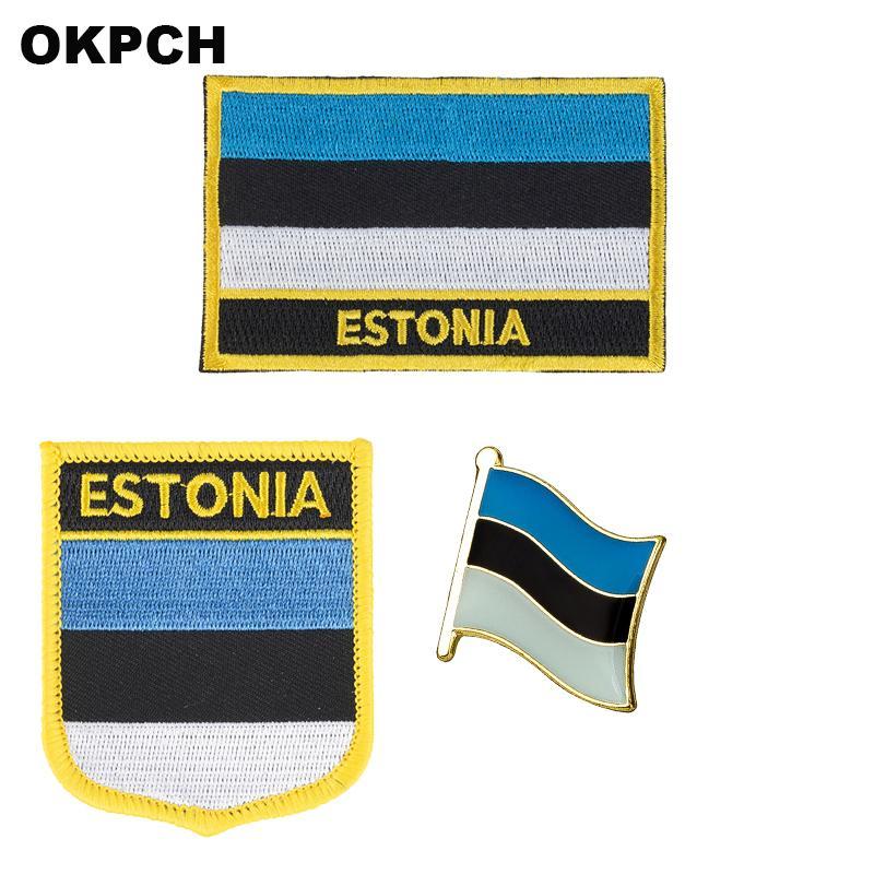 Estonya bayrağı yama rozeti Giyim DIY Dekorasyon PT0013-3 İçin Kur Patches 3PCS