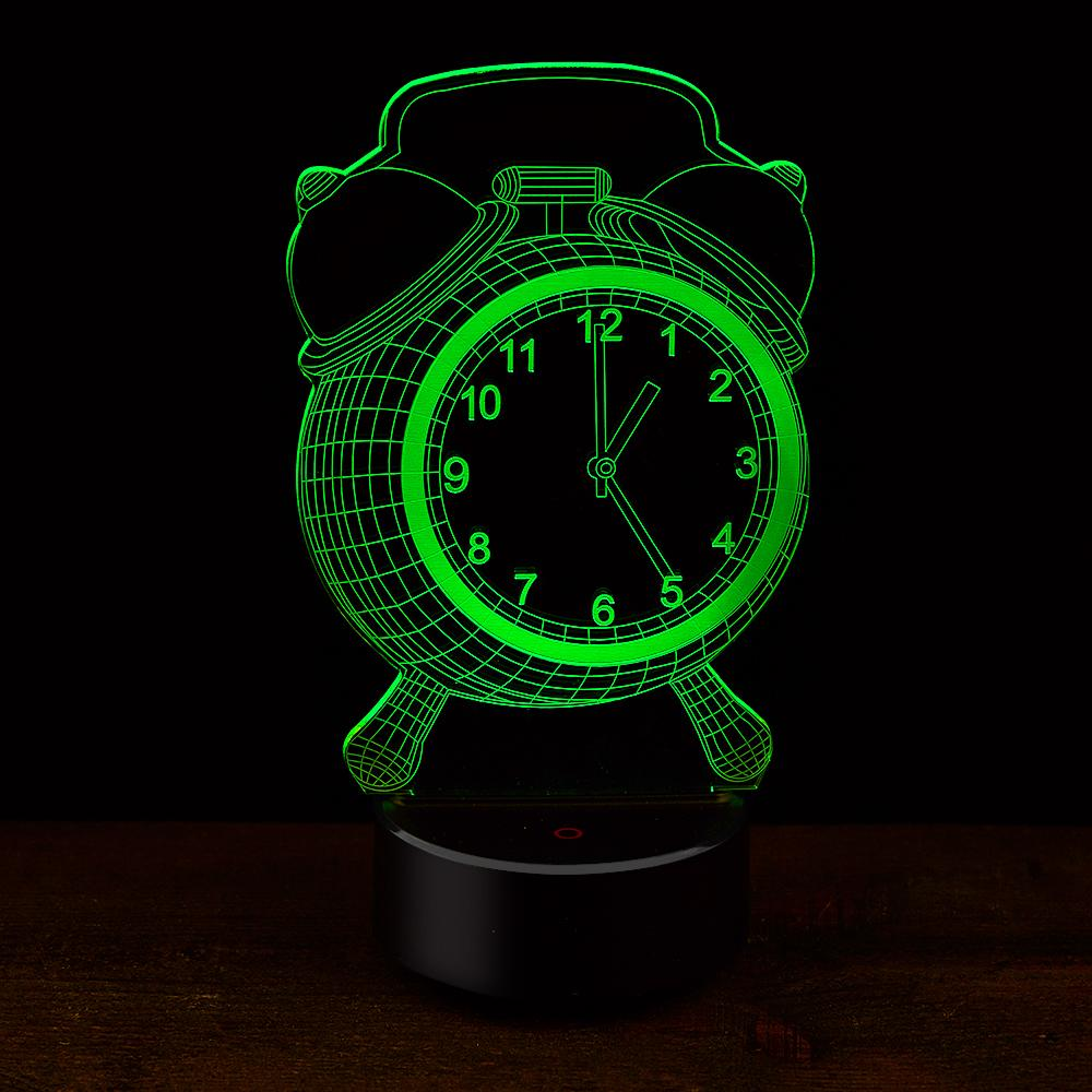 New Clock Shape 3D Illusion Lamp 7 Color Change Touch Switch LED Night Light Acrylic Desk lamp Atmosphere Lamp Novelty Lighting