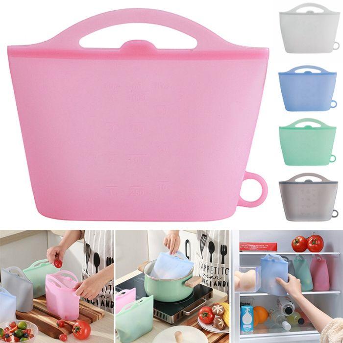 Многоразовый силиконовый консервной сумка Герметичная уплотнения еды Свежее Контейнер для хранения Универсальный Cooking мешок силикона Продукты Свежая сумка MMA3095