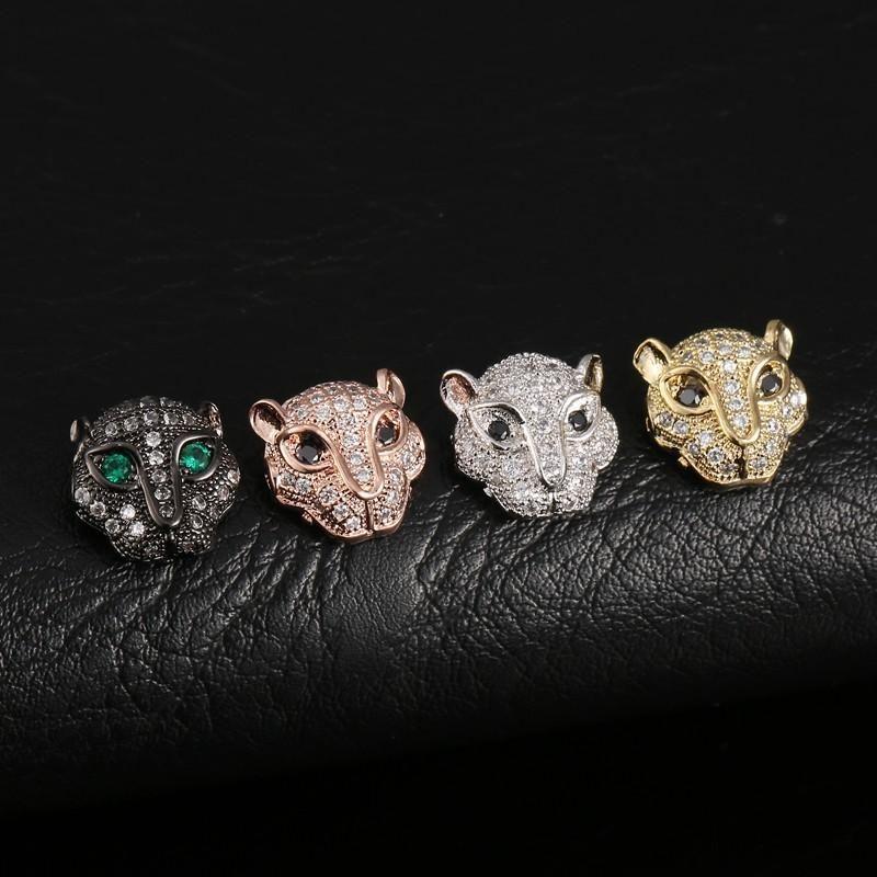DIY accesorios hechos a mano de fábrica venta al por mayor moda de lujo Zircon oro plata plateado cobre Leopard Head Metales resultados de la joyería LP012