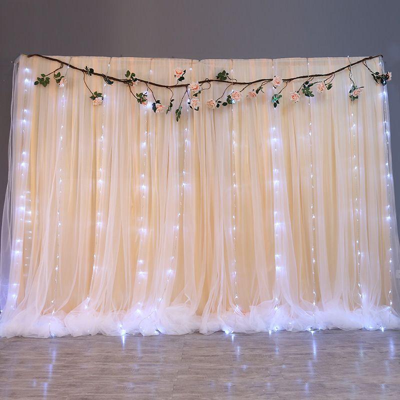 10ftx20ft ستارة خلفية الزفاف الأبيض مع العائمة تول غزل شير خلفية / زينة الزفاف الجليد رومانسية الستائر مرحلة الحرير
