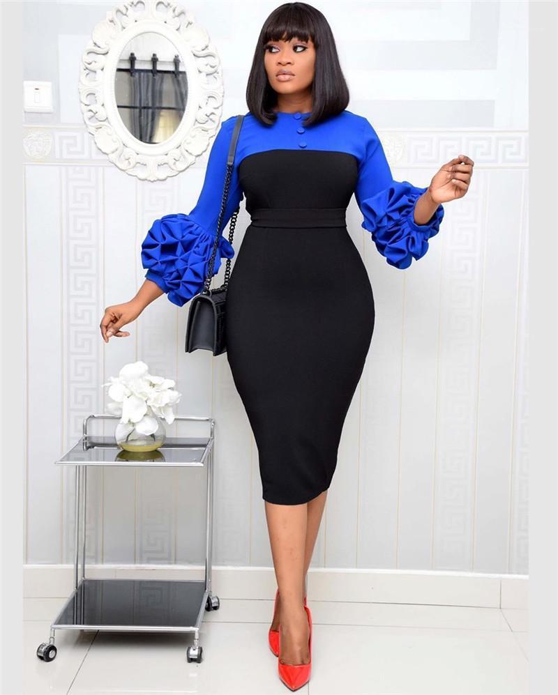 Botón cremallera de las mujeres vestidos de Split media pantorrilla ropa para mujer Diseñador bodycon vestido de verano con paneles atractivo Lápiz