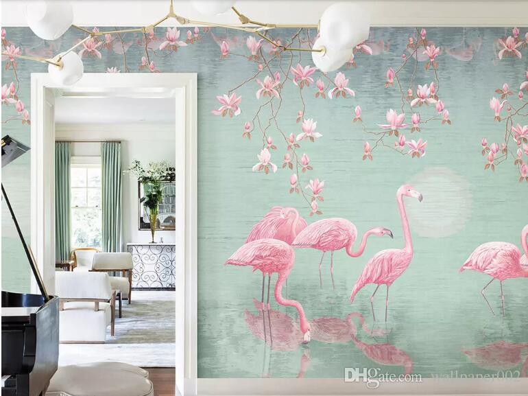 Personalizado tropical planta magnólia flamingo Nordic parede de fundo idílico pintados à mão papel de parede decoração de casa mural behang paredes papel