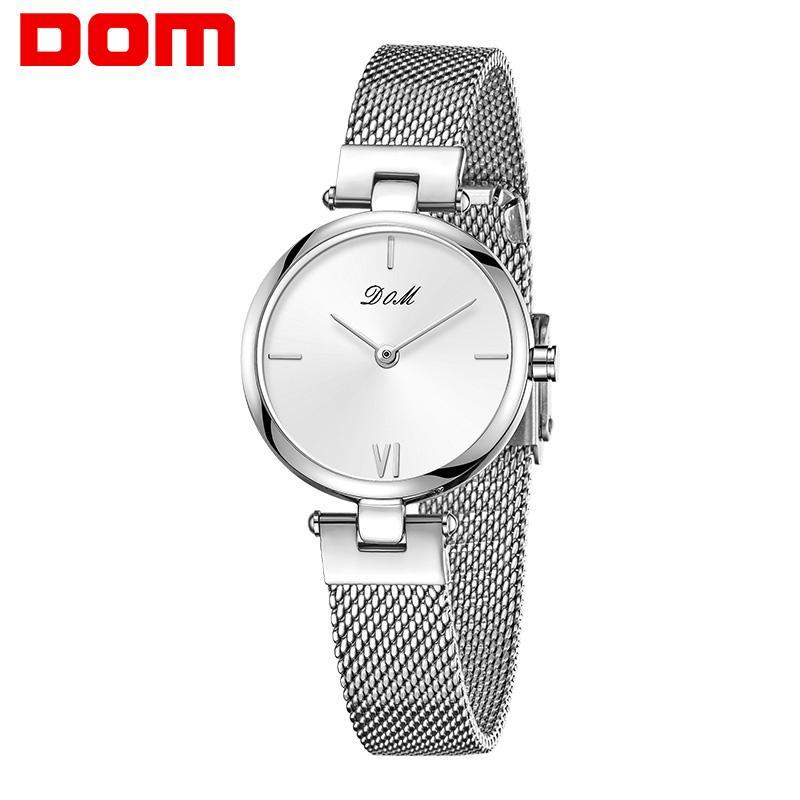 Dom Frauen Uhr Armband Japan Quarz Bewegung Einfache Wasserdichte Splitter Weiße Edelstahl Mesh Damenuhr G-1267D-7M2