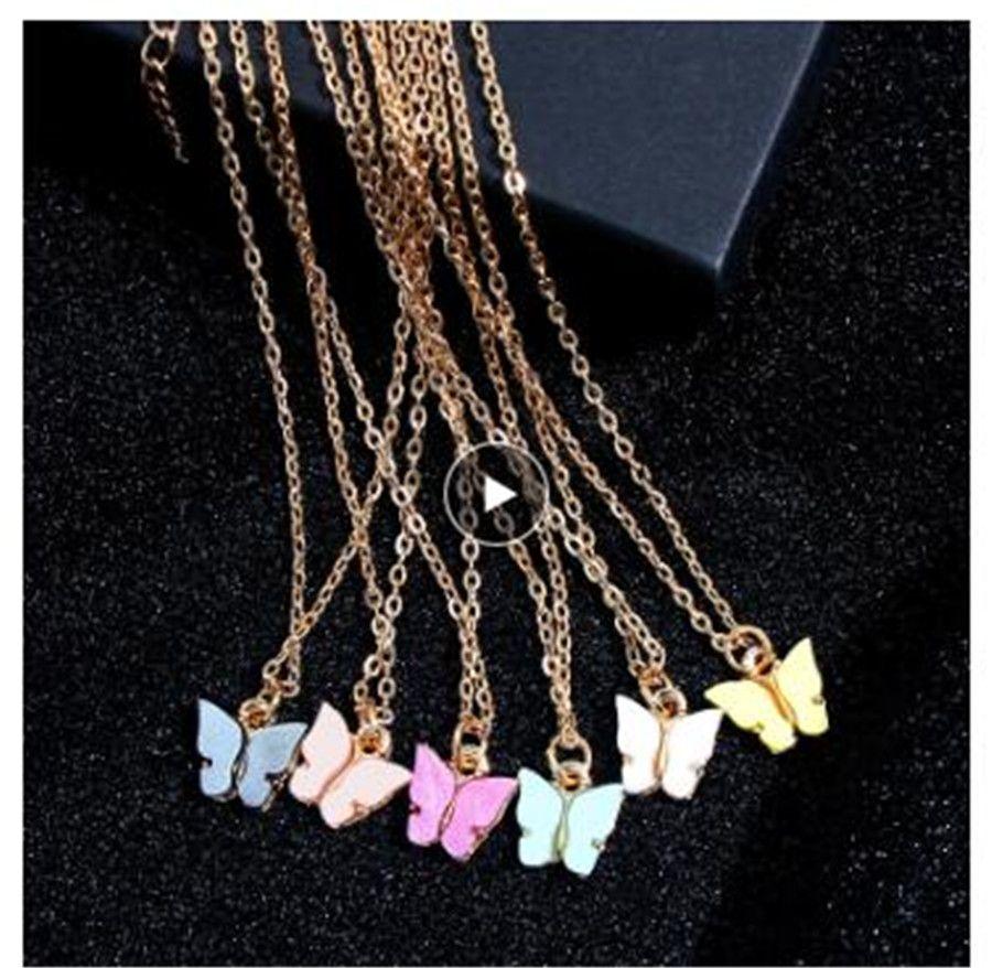 الكورية لطيف سلسلة الفراشة قلادة للنساء لون الذهب قلادة طويلة قلادة بيان أزياء سحر مجوهرات هدايا