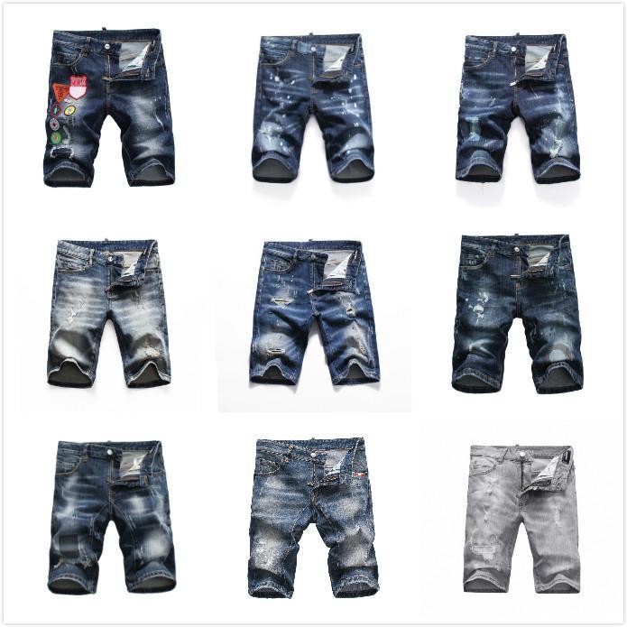 Erkek Kısa Kot Düz Delikler Sıkı Jean Gece Kulübü Mavi Pamuk Yaz Erkekler Hergün Günlük Ripped Pantolon Eğlence Bir Çeşitli Stilleri