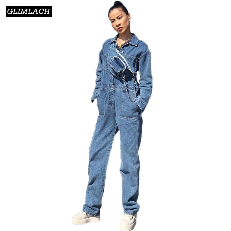 famous brand temperament shoes unique design 2019 Fashion Streetwear Denim Jumpsuits Women Long Sleeve Overalls Jeans  Jumpsuits Spring Korean Rompers Womens Jumpsuit With Pack From Swallowwa,  ...