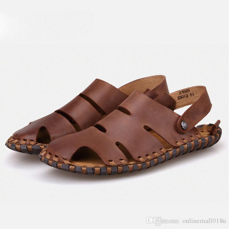 été de haute qualité en cuir véritable hommes sandales semelle en caoutchouc sable plage chaussures hommes mode décontractée pantoufles hommes