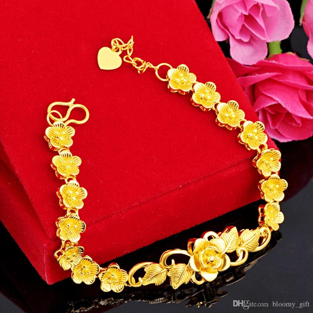 Abbastanza bello fiore del polso del braccialetto a catena oro giallo 18k riempito gioielli da sposa partito del braccialetto regalo Dropshipping