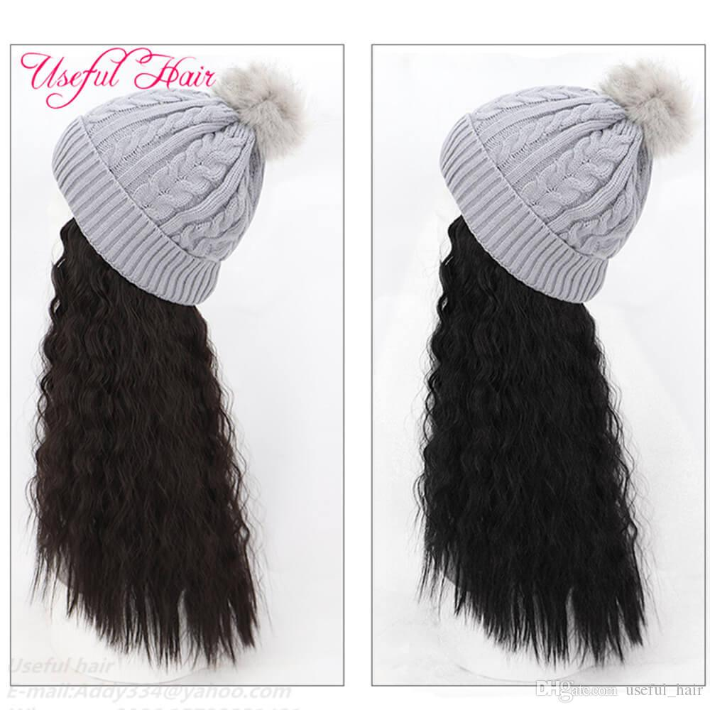 Knitted wool Cap Wigs hair hats synthetic wool caps for girls Hats beanie hat Long Hair Big Curly Synthetic Hair beanie cap