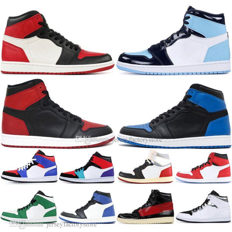 Дешевые 1 High OG Banned Бред Toe Spider-Man UNC 1S верхние 3 Mens Basketball обувь Чествование Начало Чикаго Royal Blue Men Спорт женщин кроссовки