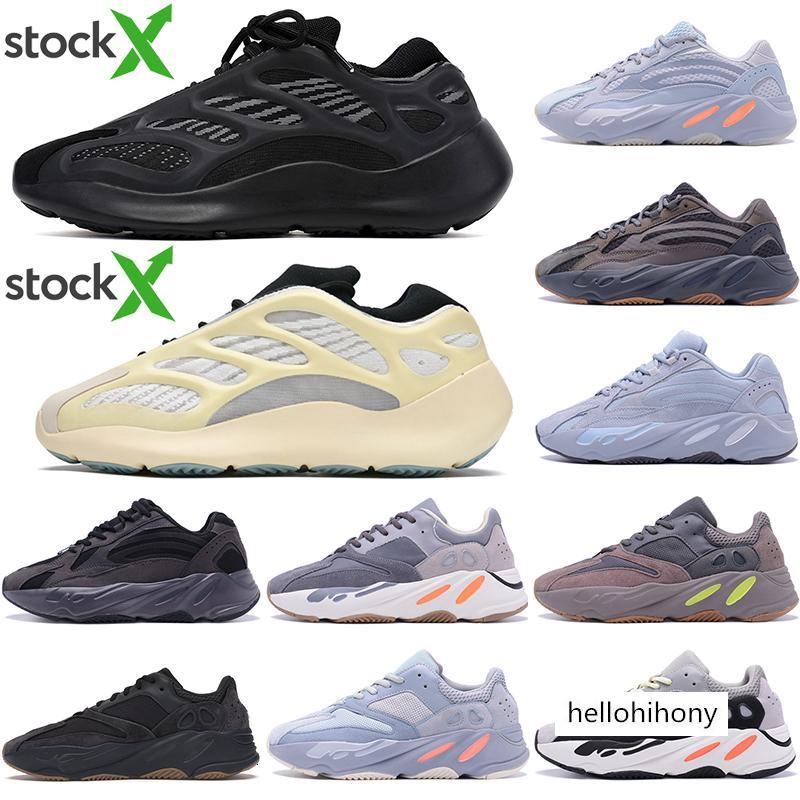 İndirim 700V3 Azael Beyaz Glow Mens Kanye West Karbon Tasarımcı Ayakkabı Işıltılı 700 V3 Runner Spor Spor ayakkabılar Ayakkabı US7-11 ile Kutusu Running