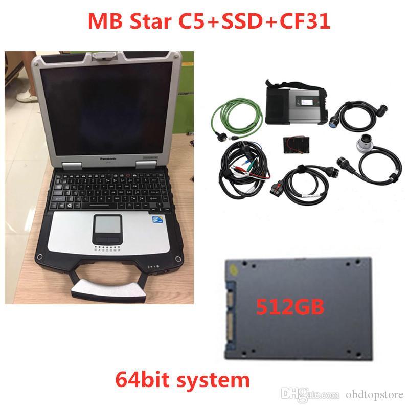 Super MB Estrela C5 SD conectar com o PC de diagnóstico CF31 Toughbook Laptop com mb estrela c5 mais novo software 2.020,06 SSD para SD C5