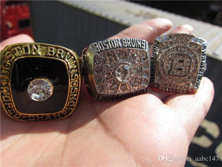 3 UNIDS 1970 1972 2011 Boston Bruins Stanley Cup Championship Ring Set Hombres Fan Souvenir Regalo Venta al por mayor 2019 Envío de la gota