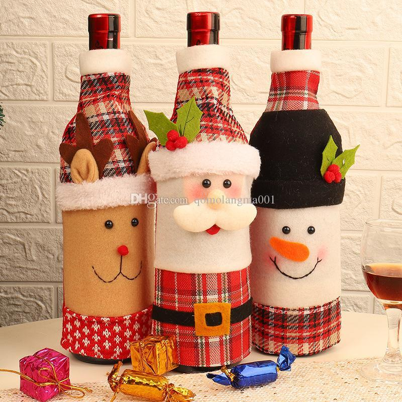 Christmas Table Decoration Wine Bottle Cover Dinner Party Red Wine Santa Claus Bottle Cover Bag Sets New Year Xmas Bottle Cover