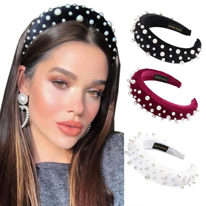 Новый дизайн моды жемчуг Hairband Повязка для женщин Элегантные украшения для волос диапазона проложенный волос Зима Аксессуары для волос
