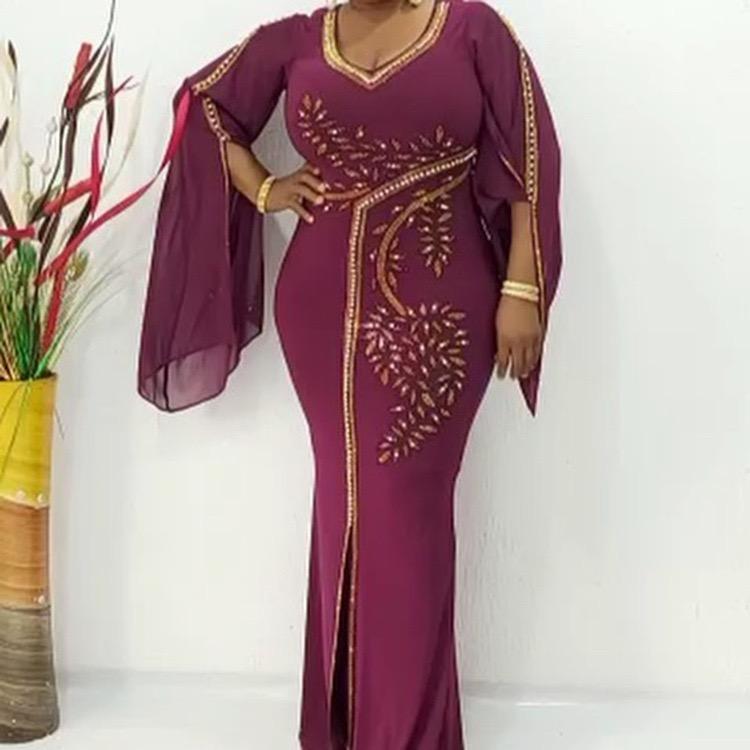 Elegante 0-Ansatz Afrikanische Partei Chiffon Mermaid Rock Fashion traditionelle Partei Strass Abendkleid für Frauen