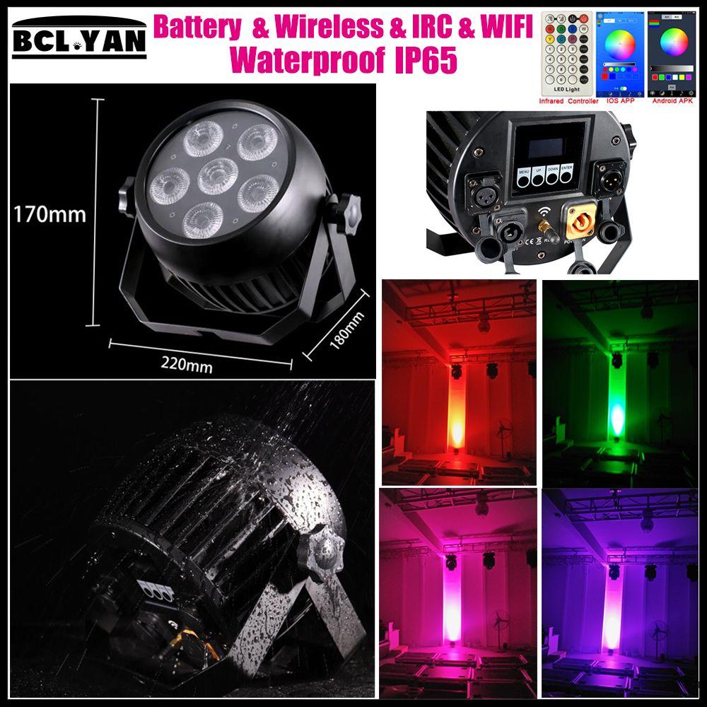Newest high brightness WIFI Phone app RGBWA UV 6 IN 1 6*18W Battery operated Wireless DMX Led par light IP65 IR remote