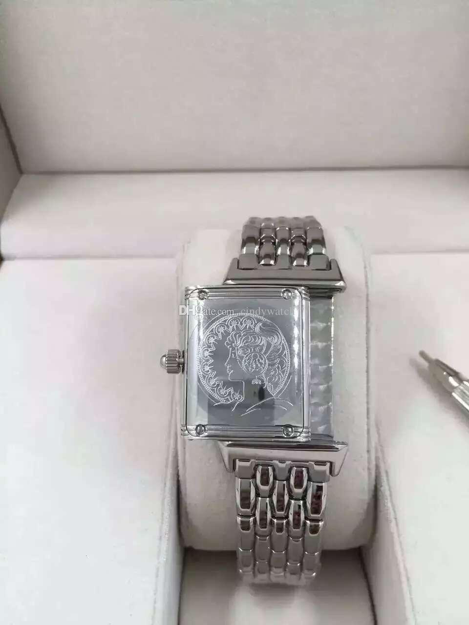 صغيرة 23x39mm Reverso رقيقة جدا Q2788570 الفولاذ المقاوم للصدأ خمر سيدة الطبعة الكوارتز WOMEN WATCH ارتفاع فتاة جودة ساعة اليد للماء