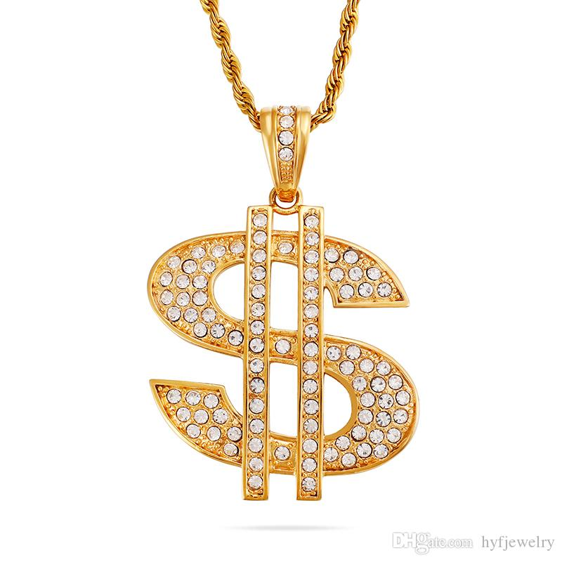Men's Hip Hop Dollar Sign Pendants Necklace 316L Stainless Steel Full Cubic Zirconia Setting 18K Gold Plated Jewelry