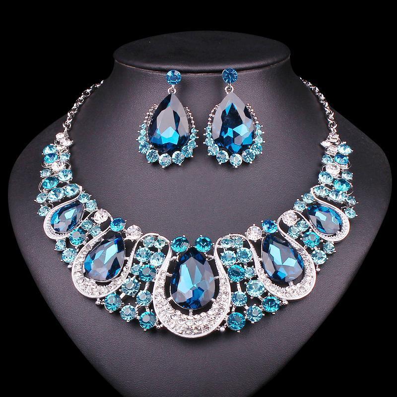 tout saleFashion indien Bijoux d'oreilles en cristal Parure Bijoux de mariée pour les mariées de mariage Accessoires de costumes Décoration