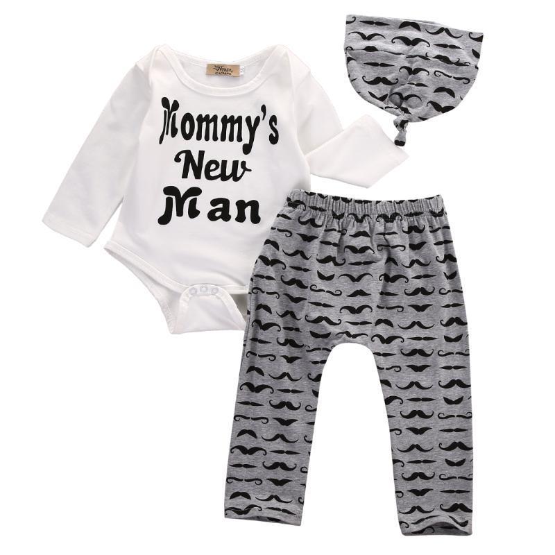 Pudcoco Yenidoğan Bebek Boy Giyim Uzun bodysuit Şapka 3PCS Kıyafetler 0-18M + Uzun Pantolon Tops Print Sleeve