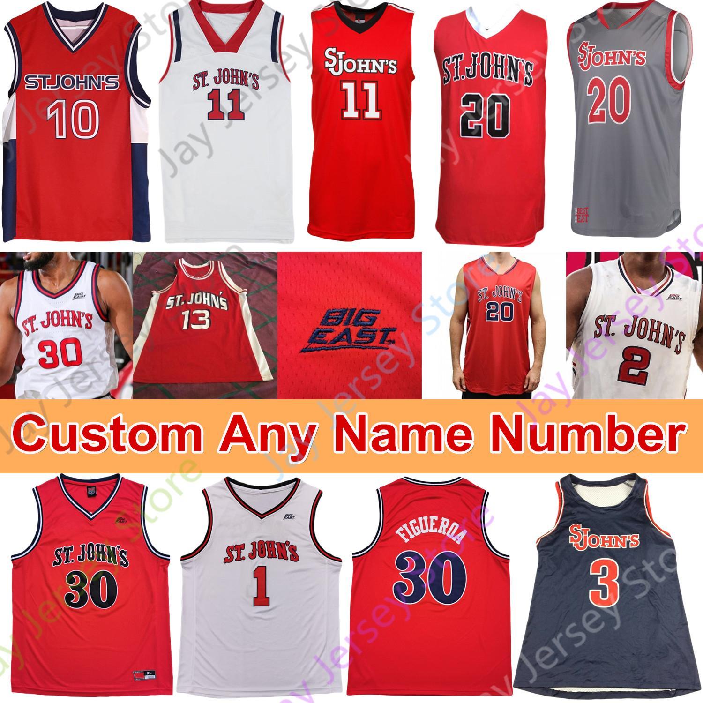 2021 Custom St. Johns Red Storm Basketball Jersey NCAA College LJ ...